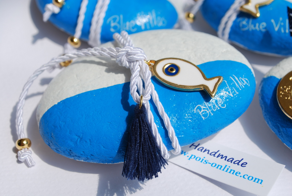 Blue Villas Gift hand-painted rocks 2
